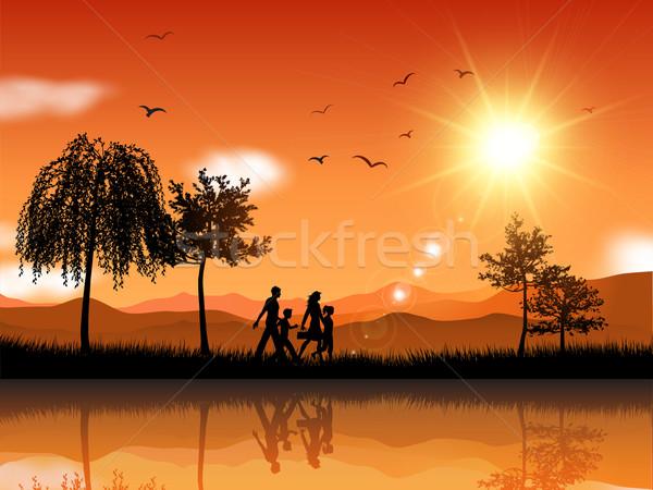 Family walking outside Stock photo © kjpargeter