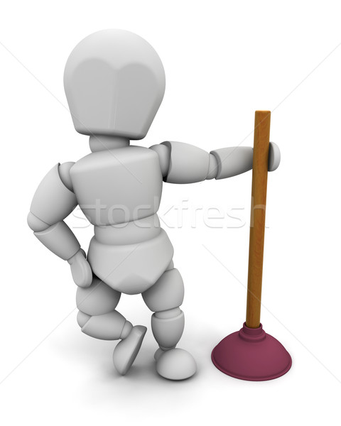 plumber with a plunger Stock photo © kjpargeter