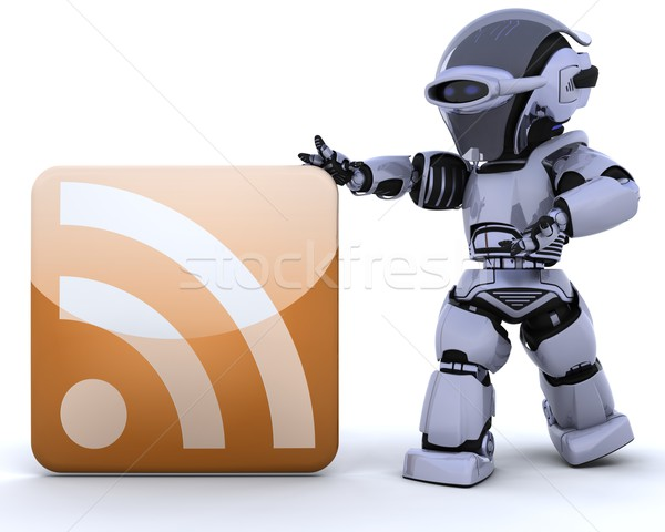 Robot rss icon 3d render internet web Stockfoto © kjpargeter