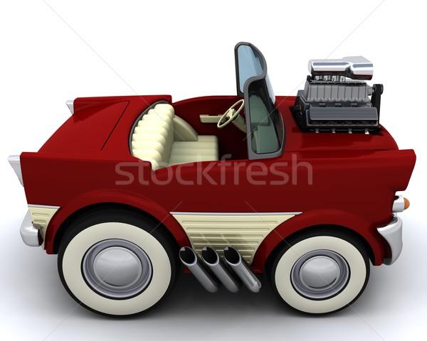 50-es évek klasszikus autó 3d render motor autógumi Stock fotó © kjpargeter
