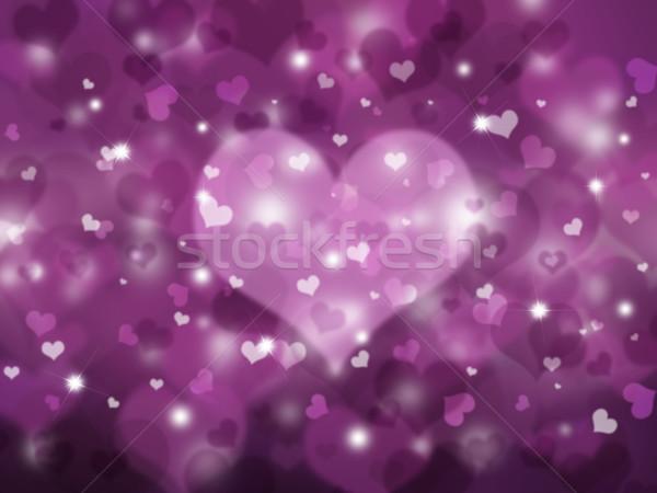 Stock fotó: Szívek · valentin · nap · sok · csillag · homály · ünnepel