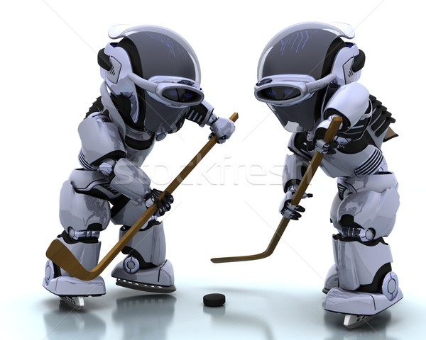 Robots playing icehockey Stock photo © kjpargeter