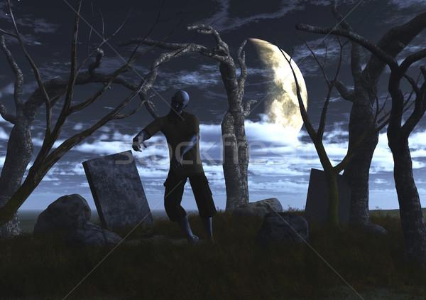 3D ゾンビ 墓地 3dのレンダリング 1泊 ツリー ストックフォト © kjpargeter
