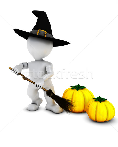 3D Morph Man Witch with pumpkins Stock photo © kjpargeter