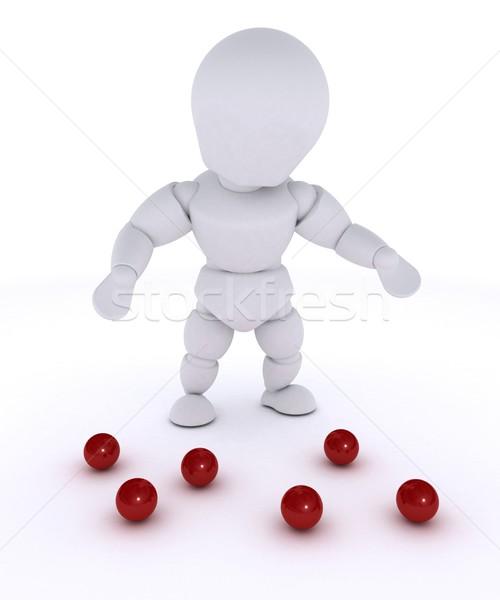 Man jongleren Rood 3d render Stockfoto © kjpargeter