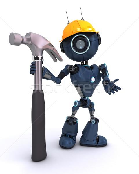 Android молота 3d визуализации человека строительство инструментом Сток-фото © kjpargeter