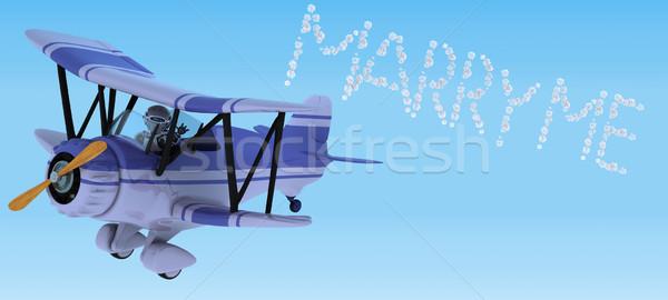 Robot repülés kétfedelű repülőgép égbolt ír 3d render Stock fotó © kjpargeter