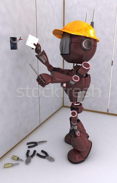 Stok fotoğraf: Robot · elektrikçi · 3d · render · elektrik · teknoloji