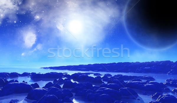3D space background with alien landscape Stock photo © kjpargeter