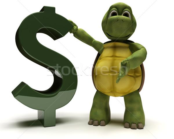 Teknősbéka dollárjel 3d render pénz óceán dollár Stock fotó © kjpargeter