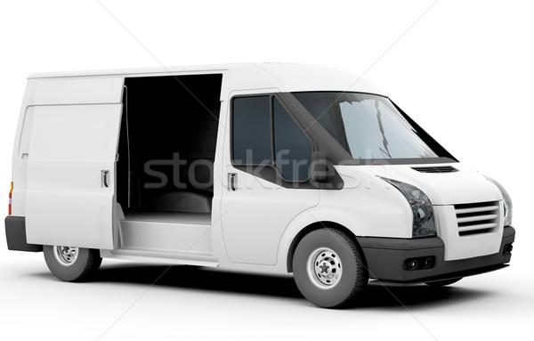 Stock fotó: Fehér · furgon · 3d · render · üzlet · teherautó · ipar