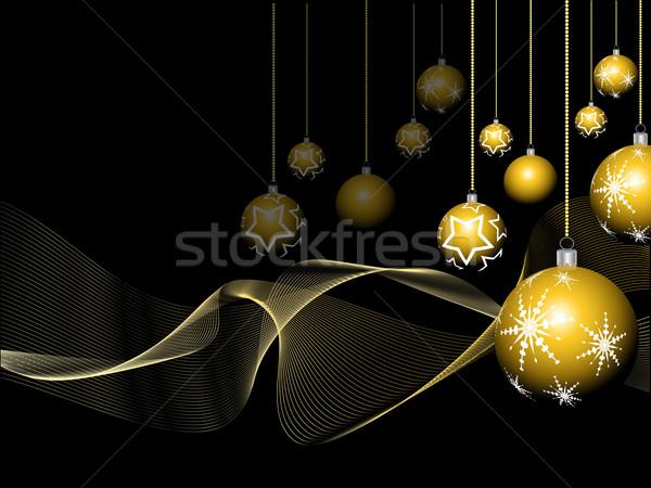 Stock fotó: Arany · karácsony · csecsebecse · absztrakt · tél · csillag