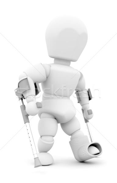 Persona muletas 3d alguien femenino masculina Foto stock © kjpargeter