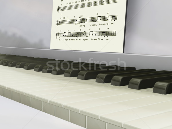 клавиши пианино 3d визуализации музыку аннотация фортепиано концепция Сток-фото © kjpargeter
