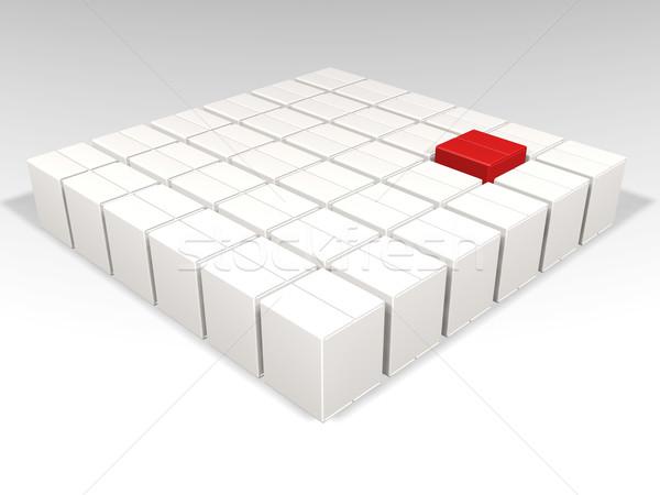 Individualidad uno rojo cuadro muchos blanco Foto stock © kjpargeter