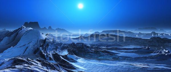 3D сюрреалистичный пейзаж 3d визуализации снега покрытый Сток-фото © kjpargeter