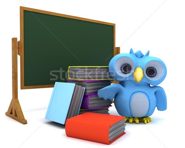 Sevimli mavi kuş karakter 3d render kitaplar Stok fotoğraf © kjpargeter