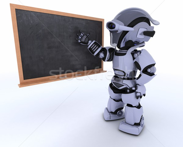 robot with school chalk board back to school Stock photo © kjpargeter