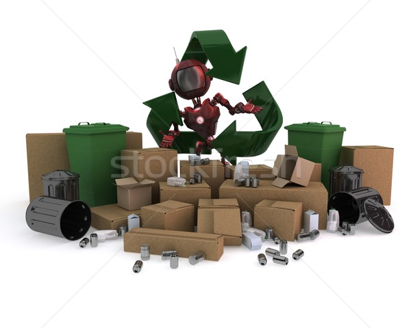 Androide reciclaje residuos 3d tecnología robot Foto stock © kjpargeter