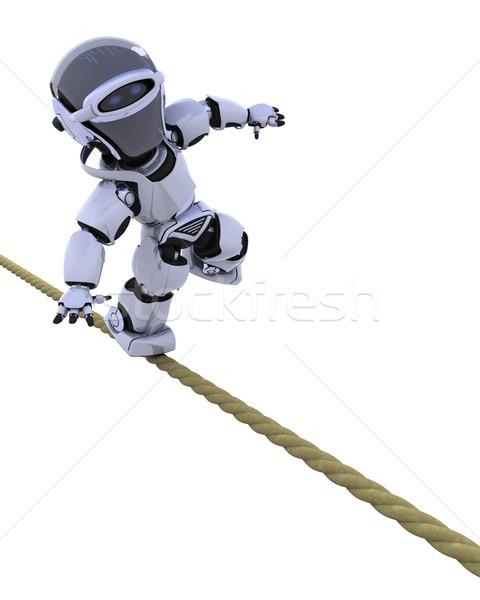 Robot stretto corda rendering 3d bilanciamento futuro Foto d'archivio © kjpargeter