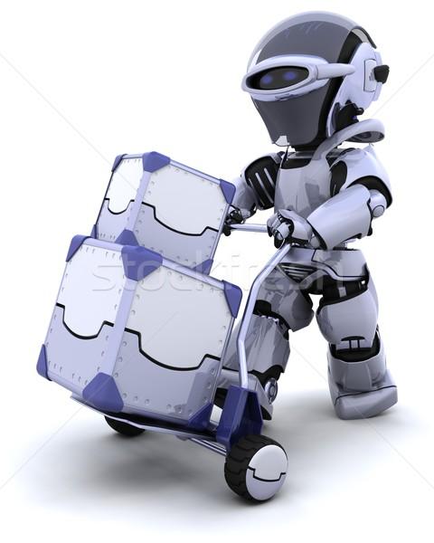 Roboter bewegen Versandkosten Boxen 3d render Zukunft Stock foto © kjpargeter