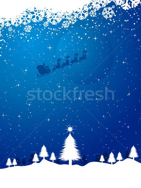 Santa on a snowy night Stock photo © kjpargeter