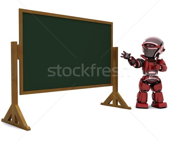 Robot tanár osztályterem 3d render oktatás tábla Stock fotó © kjpargeter
