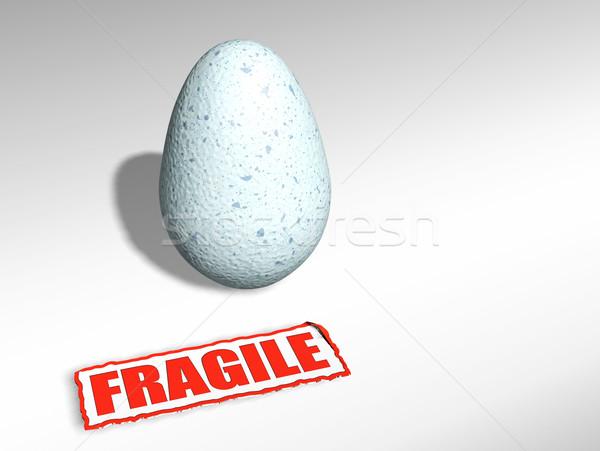 хрупкий яйцо 3d визуализации наклейку Пасху белый Сток-фото © kjpargeter