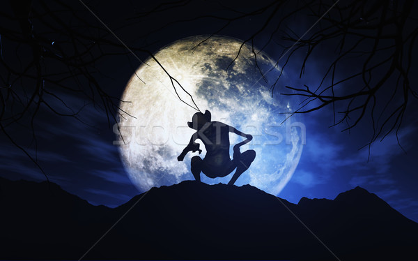Stock photo: 3D Halloween background with creature against moonlit sky