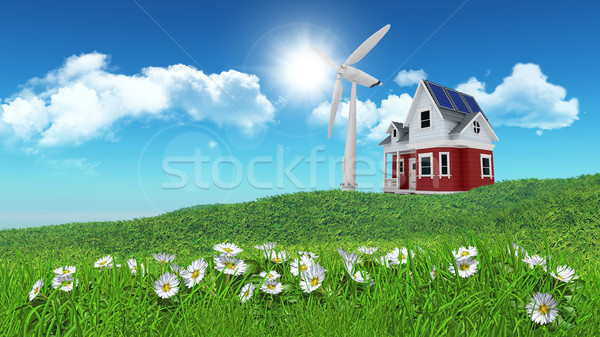 3d render papatyalar çim ev rüzgar türbini mesafe Stok fotoğraf © kjpargeter