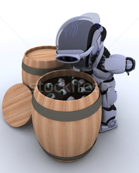 Robot bobbing for eyeballs in a barrel Stock photo © kjpargeter