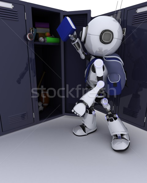 Stock photo: Android with school bag and locker