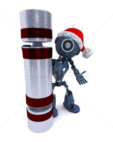 Android Noel 3d render teknoloji robot Stok fotoğraf © kjpargeter
