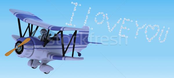 робота Flying биплан небе Дать 3d визуализации Сток-фото © kjpargeter