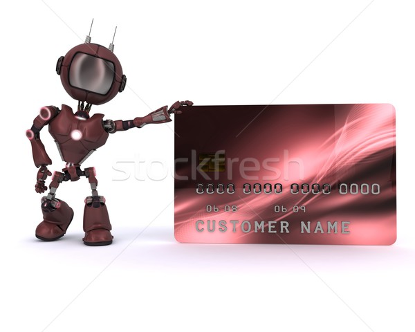 Android kredi kartı 3d render adam Stok fotoğraf © kjpargeter