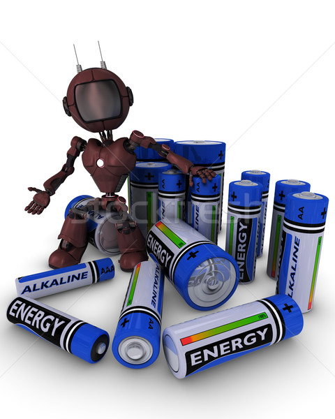 Android with batteries Stock photo © kjpargeter