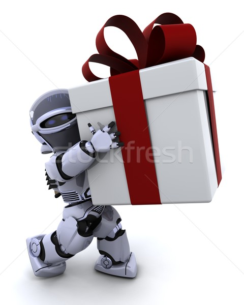 robot carrying christmas gift box with bow Stock photo © kjpargeter