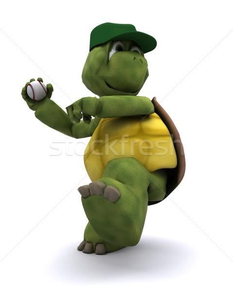 Tortoise playing basball Stock photo © kjpargeter