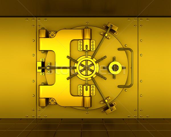 Bank agykoponya arany pénzügy pénzügyi biztonság Stock fotó © kjpargeter