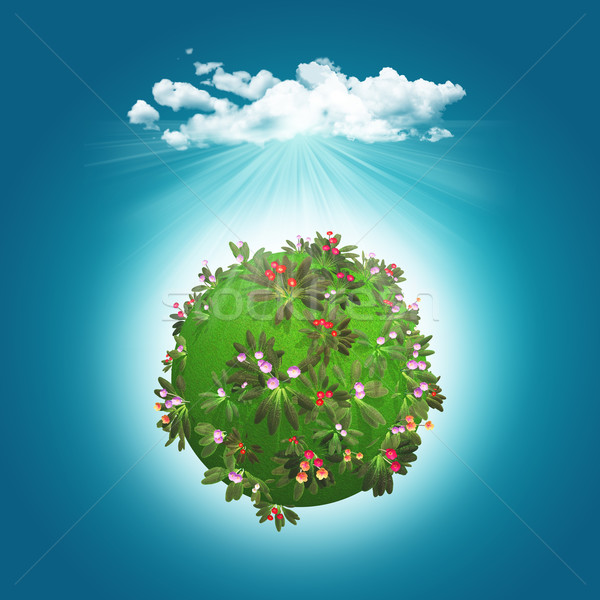 3D render of a grassy globe with flowers and cloud Stock photo © kjpargeter
