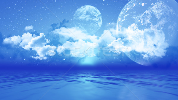 3D landscape with planets over ocean Stock photo © kjpargeter