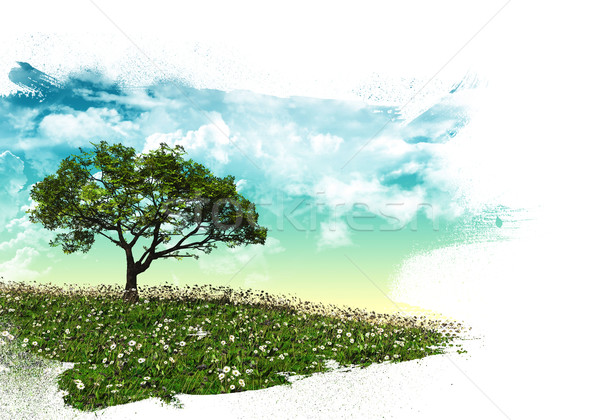 3D tree landscape with brush strokes Stock photo © kjpargeter