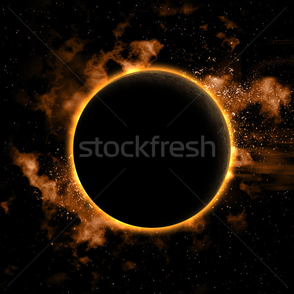 Space background with eclipsed planet Stock photo © kjpargeter