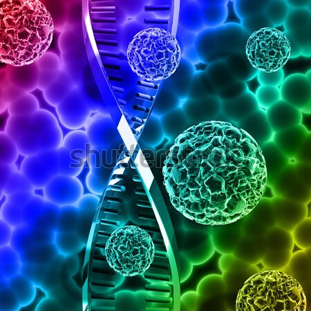 Stock photo: Abstract virus background with DNA strand