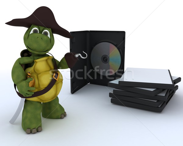 Pirate Tortoise with DVD CD and Software Stock photo © kjpargeter