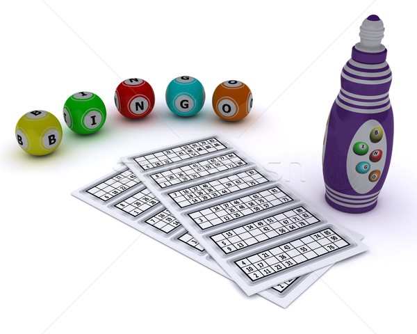 Bingo kaart pen 3d render Stockfoto © kjpargeter