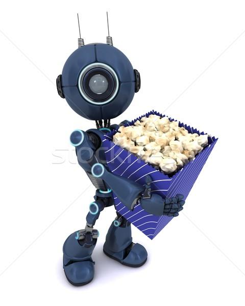 Android pattogatott kukorica 3d render férfi film Stock fotó © kjpargeter