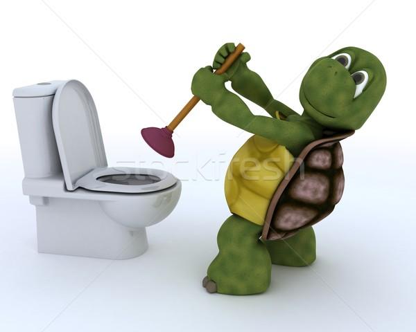 Tartaruga encanamento 3d render água construção Foto stock © kjpargeter