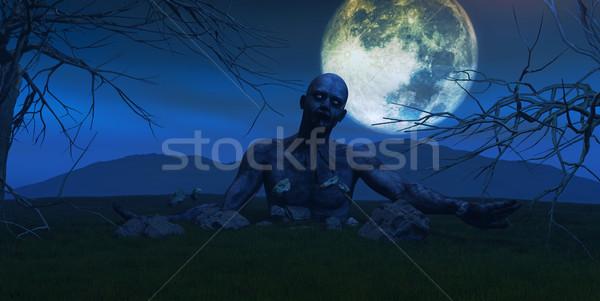 3d визуализации зомби из землю Scary небе Сток-фото © kjpargeter