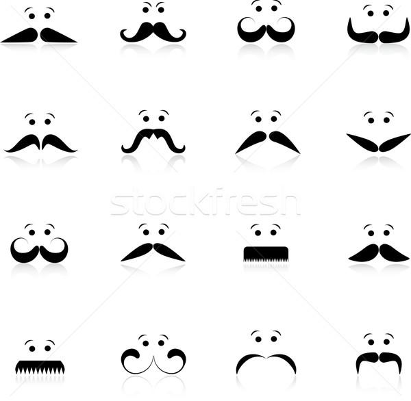 Vicces bajusz arcok gyűjtemény különböző arc Stock fotó © kjpargeter
